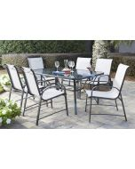 7 Piece Set Paloma Patio Dining Set, Glass Table + 6 Chairs, Cosco Outdoor