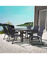 7 Piece Outdoor Dining Set, Capitol Hill 6 Chairs + Table, Navy + Charcoal, COSCO Outdoor