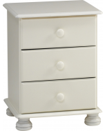 Steens Richmond White 3 Drawer Bedside Table / Cabinet