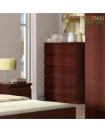 Pello 5 Drawer Wide Chest in Dark Mahogany