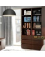 Pello Tall Narrow 3 Drawer Bookcase in Dark Mahogany