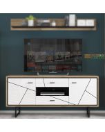 Brolo 2 Door 2 Drawer TV Unit With The Walnut And Dark Panel Finish