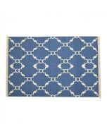Glaucous Blue Geometric Patterned Rug With Tassels