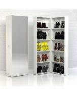 Bright Shoe Cabinet 1 Door with 10 internal shelves in White at Price Crash Furniture. Other sizes & styles available
