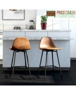 Calvin Upholstered Counter Stool in camel faux leather at Price Crash Furniture