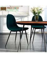 Pair of Calvin Upholstered Dining Chairs in Green by Dorel