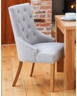 Baumhaus Oak Accent Narrow Back Upholstered Dining Chair - Grey (Pack Of Two)