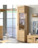 Cortina Tall Glazed Display Cabinet (RH) In Grandson Oak at Price Crash Furniture