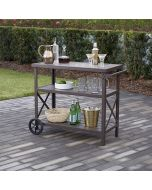 Farmstead Aluminum 3 Shelf Serving Cart, Dark Brown, Cosco Outdoor