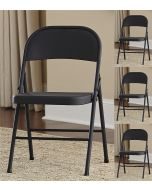 4-Pack Indoor Outdoor Cosco All Steel Folding Chair Black