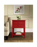 Franklin 2 Drawer Side Table Bedside Cabinet in Red by Dorel