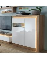 Lyon 2 Door Designer Cabinet (LH) (Including LED Lighting) In Riviera Oak/White High Gloss