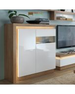 Lyon 2 Door Designer Cabinet (RH) (Incl LED Lighting) In Riviera Oak/White High Gloss