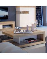 Lyon Coffee Table On Wheels In Designer Riviera Oak/White High Gloss