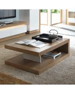 Lyon Designer Coffee Table In Riviera Oak/White High Gloss