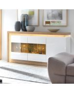 Lyon 3 Door Glazed Sideboard (Including LED Lighting) In Riviera Oak/White High Gloss