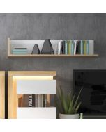 Lyon 120cm Wall Shelf In Riviera Oak/White High Gloss