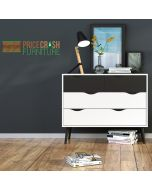 Oslo Chest Of 4 Drawers (2+2) In White And Black Mat