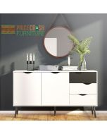 Oslo Sideboard - Large - 3 Drawers 2 Doors in White and Matte Black at Price Crash Furniture. Matching items also available.