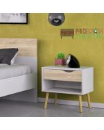 Oslo Bedside 1 Drawer in White & Oak at Price Crash Furniture. Matching items also available.