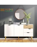 Oslo Sideboard - Large - 3 Drawers 2 Doors in White and Oak at Price Crash Furniture. Matching items also available.