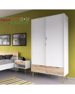 Oslo Wardrobe 2 Doors 2 Drawers In White And Oak at Price Crash Furniture. Matching items & free delivery.