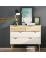 Oslo 4 Drawer Chest Of Drawers (2+2) in White and Oak at Price Crash Furniture. Matching items also available.