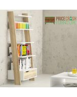 Oslo Leaning Ladder Bookcase 1 Drawer in White and Oak at Price Crash Furniture. Matching items also available.