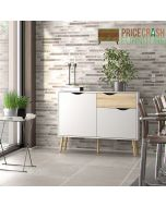 Oslo Sideboard - Small - 1 Drawer 2 Doors in White and Oak at Price Crash Furniture. Matching items also available.