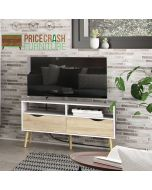 Oslo TV Unit 2 Drawers in White and Oak at Price Crash Furniture. Matching items also available.