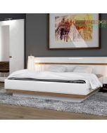 Chelsea Bedroom Super Kingsize Bed in White Gloss With an Oak Trim