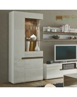 Chelsea Living Tall Glazed Wide Display Unit (LHD in White Gloss With an Truffle Oak Trim