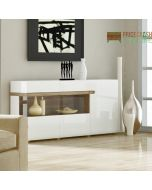 Chelsea Living 3 Door Glazed Sideboard in White Gloss With an Truffle Oak Trim