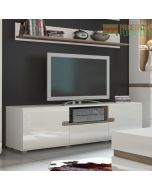Chelsea Living Wide TV Unit in White Gloss with Truffle Oak Trim at Price Crash Furniture. Matching items available.