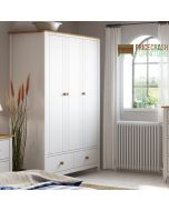Heston 3 Door 2 Drawer Wardrobe in White and Pine at Price Crash Furniture. Matching furniture items available.