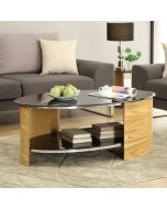 JF301 San Marino Oval Coffee Table in Oak by Jual at Price Crash Furniture. Matching items available. Also in Walnut or Grey