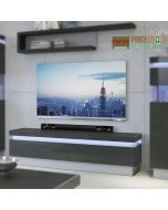 Lyon 2 Drawer TV Cabinet (inc LED Lighting) in Platinum/Light Grey Gloss at Price Crash furniture. Matching items available.