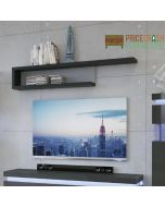 Lyon 130cm Wall Shelf in Platinum/Light Grey Gloss at Price Crash Furniture. Matching items available.