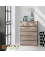Naia 5 Drawer Chest Of Drawers in Truffle Oak at Price Crash Furniture. Matching items available.