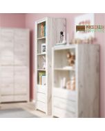 Angel Tall Narrow 3 Drawer Bookcase in White Oak at Price Crash Furniture