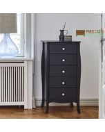 Steens Baroque Tall Narrow 5 Drawer Chest of Drawers in Black at Price Crash Furniture. Matching items available. Also available in Grey or White