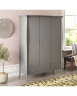 Steens Baroque 3 Door 2 Drawer Large Wardrobe in Grey at Price Crash Furniture. Matching items available. Also available in White or Black