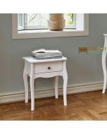 Steens Baroque 1 Drawer Bedside Table Nightstand Cabinet in White at Price Crash Furniture. Matching items available. Also available in Grey or Black