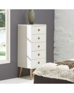Steens Soft Line Tall Narrow Retro Style 5 Drawer Chest Of Drawers In White