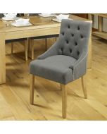 Baumhaus Oak Accent Upholstered Dining Chair - Stone (Pack Of Two)
