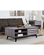 Vaughn Coffee Table with Sliding Door in Grey Oak by Dorel at Price Crash Furniture