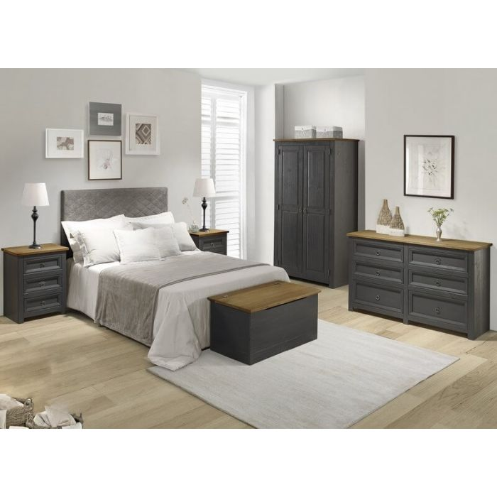 Large Grey Corona 6 Drawer Wide Chest Sideboard Bedroom Furniture Carbon Wax