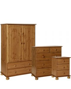 Copenhagen Pine Package - Bedside - 2+3 Deep DRW Chest- 2 Door 2 DRW Combi Robe