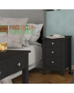 Florence 3 Drawer Shaker Style Bedside Table in Black