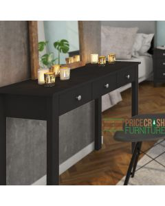 Florence Shaker Style Dressing Table with 3 Drawers in Black